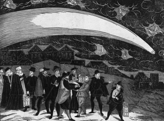 A reproduction of a contemporaneous woodcut depiction of the Great Comet of 1577 over Prague by Jiri Daschitzsky.