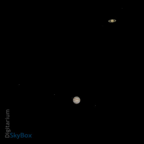 A zoomed in view of the conjunction of Jupiter and Saturn, December 21, 2020 as simulated using Nightshade NG Professional Software. The moons of both Jupiter and Saturn are visible in the image.
