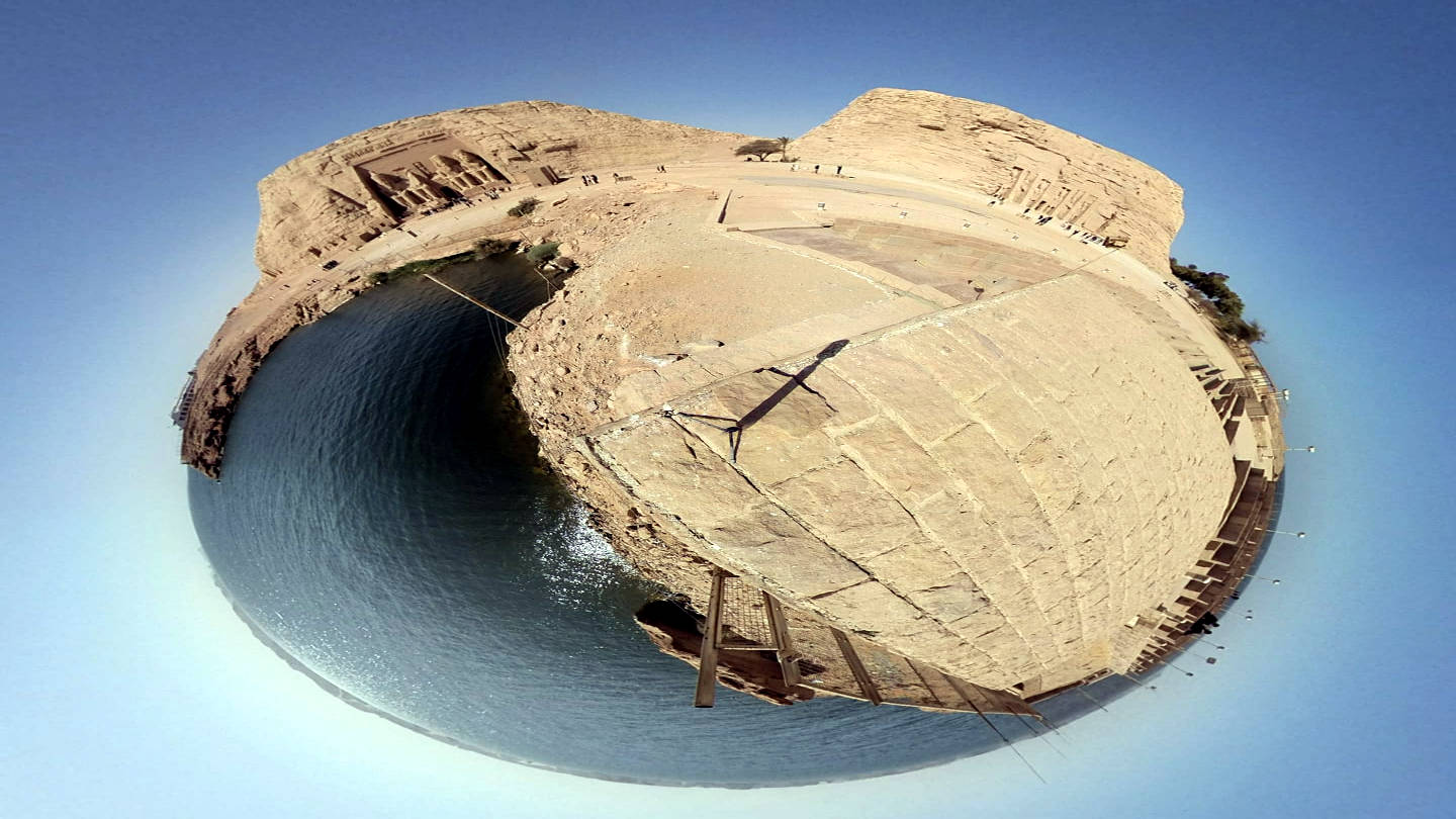 Spherical projection of Abu Simbel, Egypt